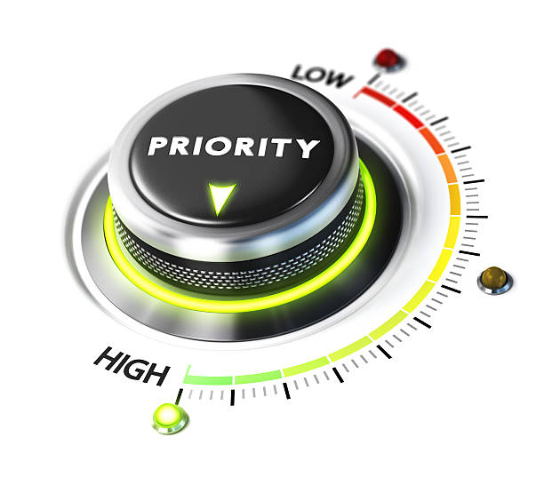 Define High Priority Priority switch button positioned on highest level, white background and green light. Conceptual image for illustration of setting priorities and time management. beat the clock stock pictures, royalty-free photos & images