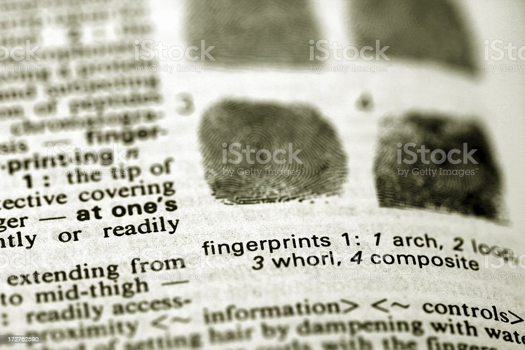 Defining fingerprints in the Dictionary royalty-free stock photo