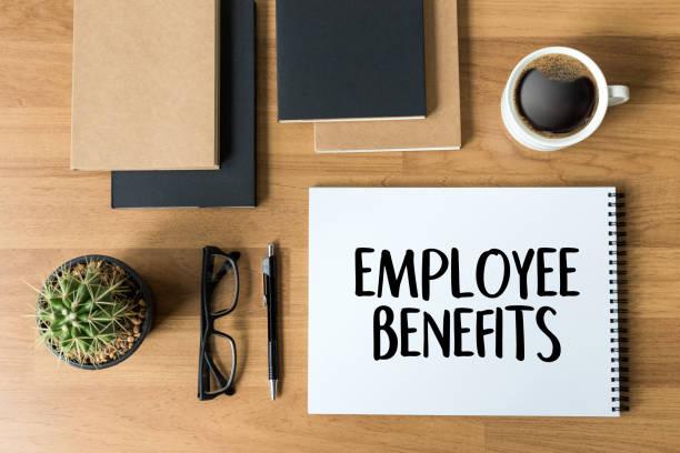 employee benefits  technology communication definition highlighted - benefits imagens e fotografias de stock