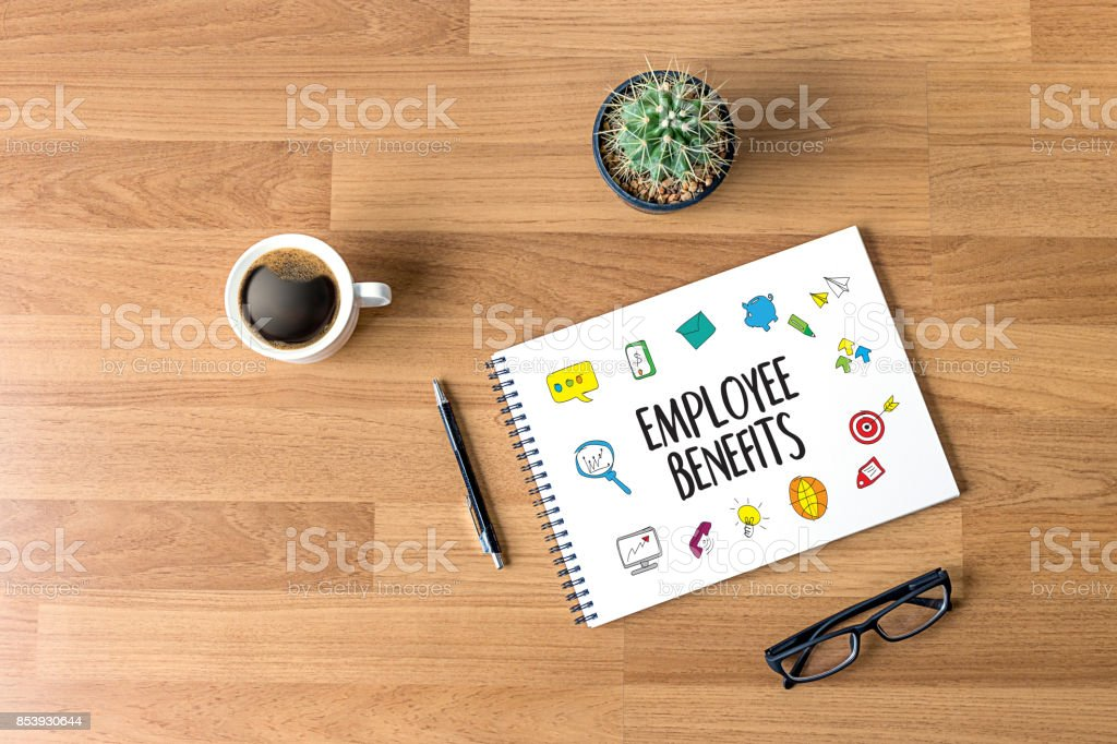 EMPLOYEE BENEFITS  TECHNOLOGY COMMUNICATION definition highlighted stock photo