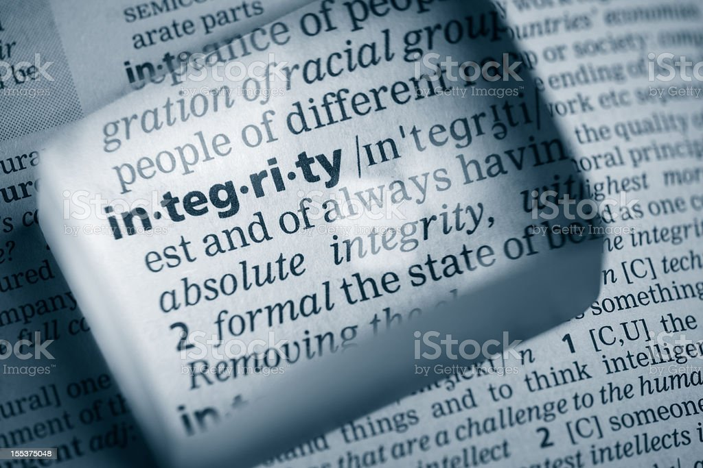 Definition 'integrity' royalty-free stock photo