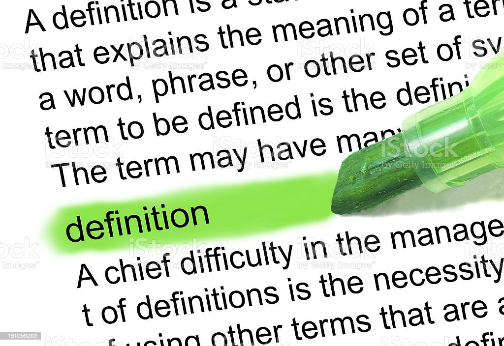 definition marked in dictionary stock photo