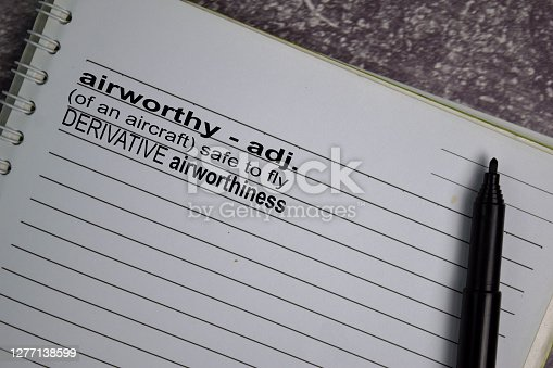 Definition of Airworthy word with a meaning on a book. dictionary concept