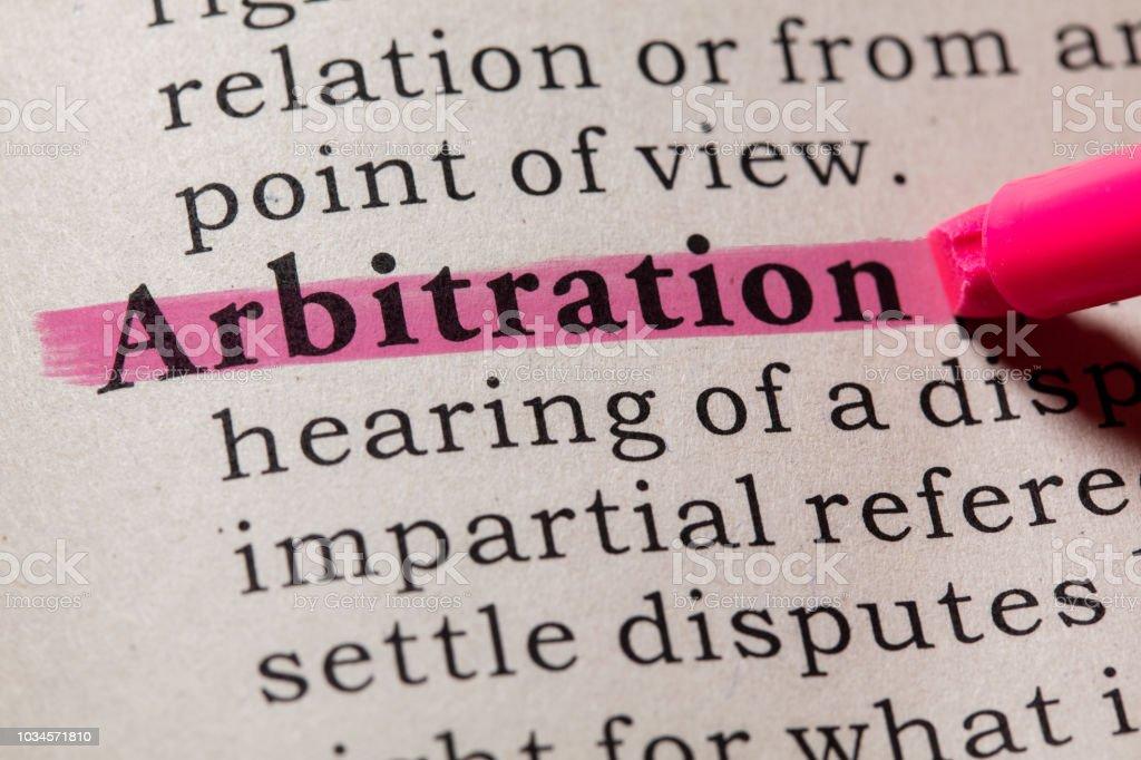 definition of arbitration stock photo