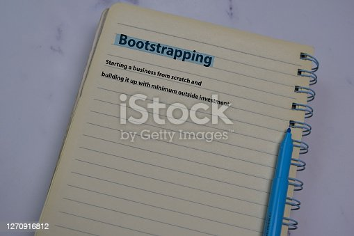 Definition of Bootstrapping word with a meaning on a book. dictionary concept