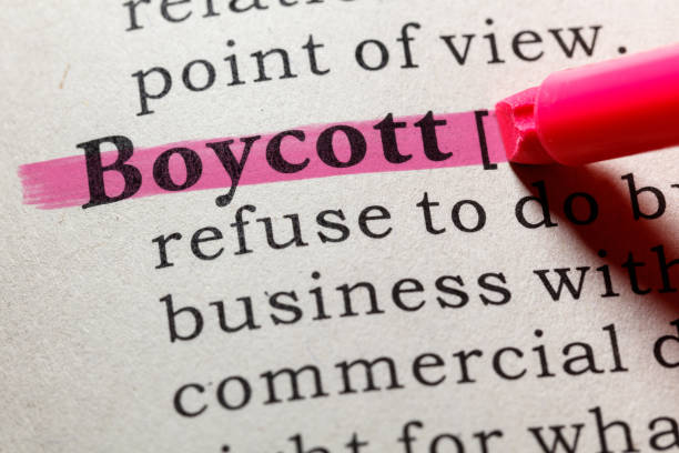 definition of boycott stock photo
