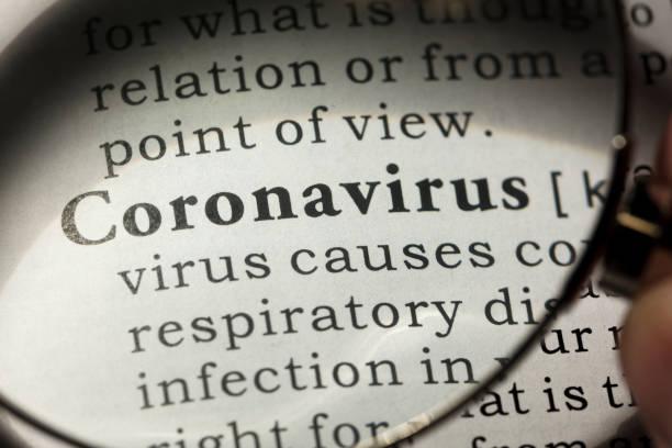 definition of coronavirus stock photo