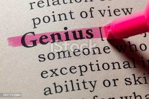Fake Dictionary, Dictionary definition of the word genius. including key descriptive words.