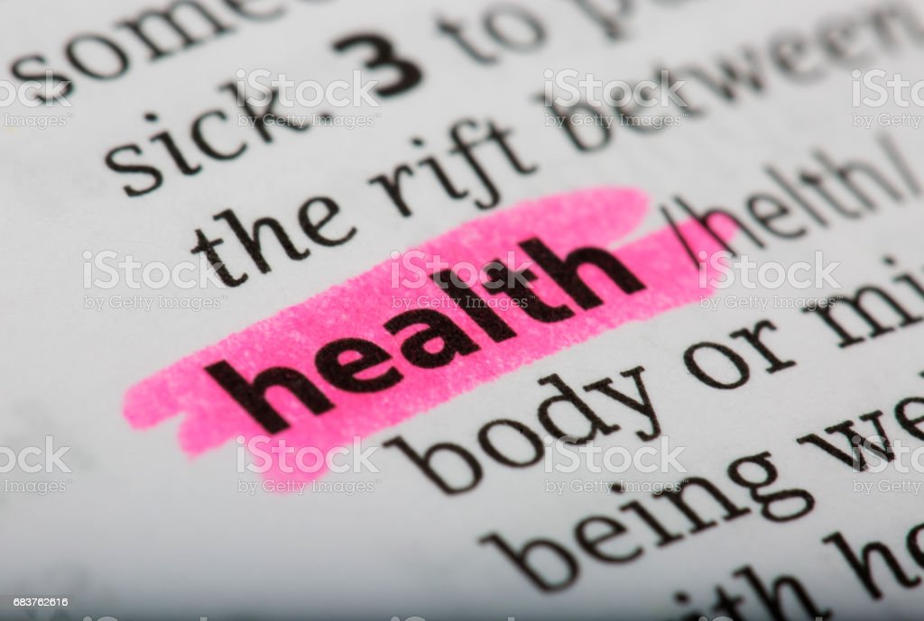 Definition of health in the dictionary stock photo