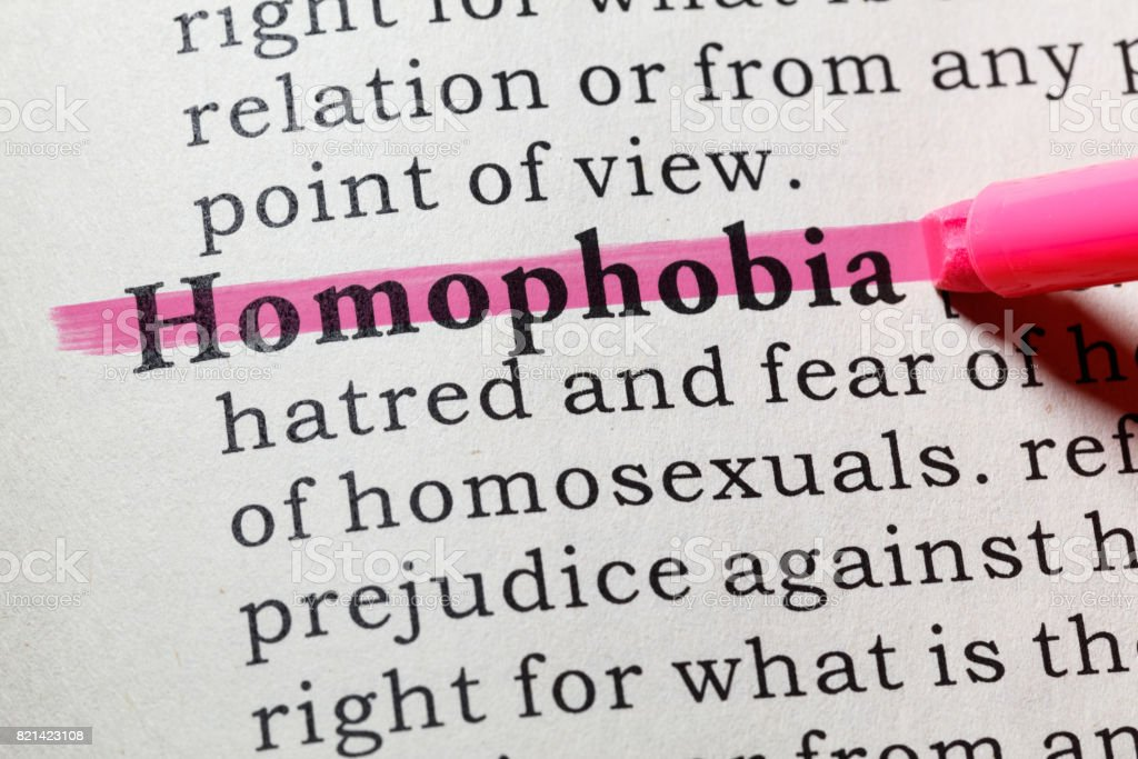 definition of homophobia stock photo