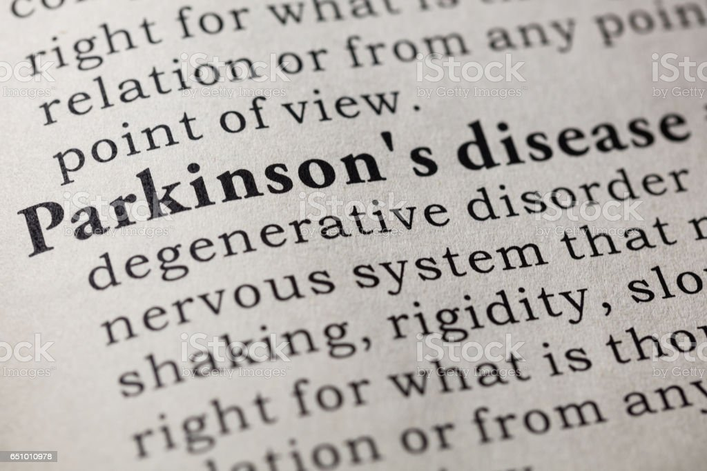 definition of Parkinson's disease stock photo