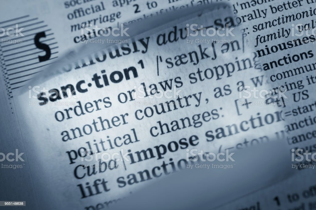Definition of Sanction stock photo