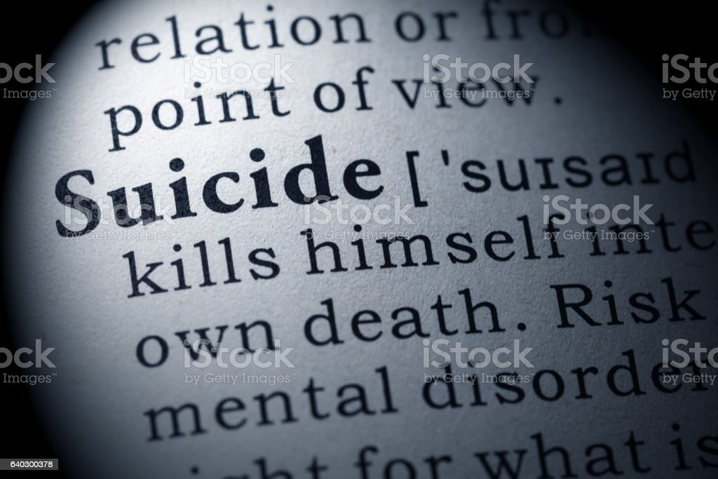 definition of suicide stock photo