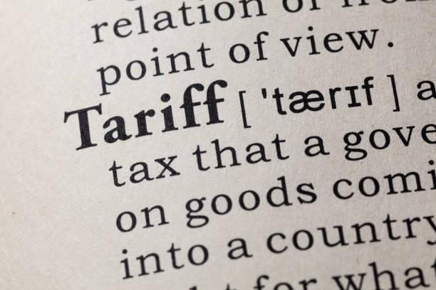 definition of tariff stock photo