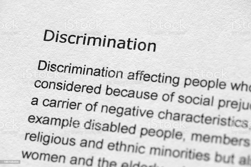 Definition of the word discrimination stock photo