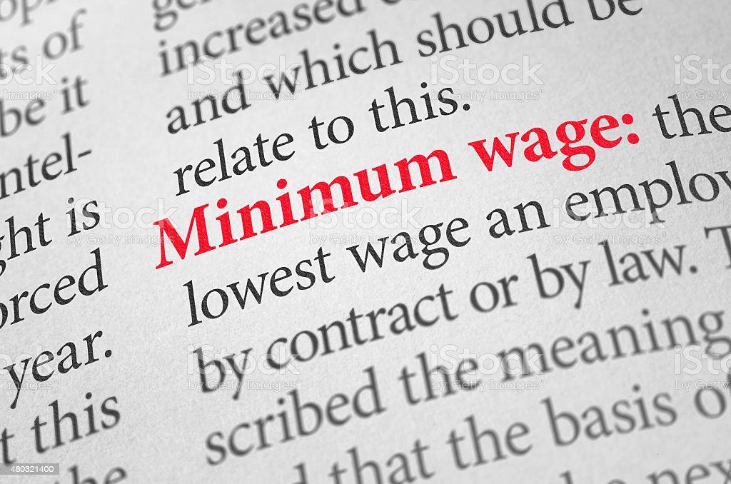 Definition von dem Wort Mindestlohn in einem Wörterbuch – Foto