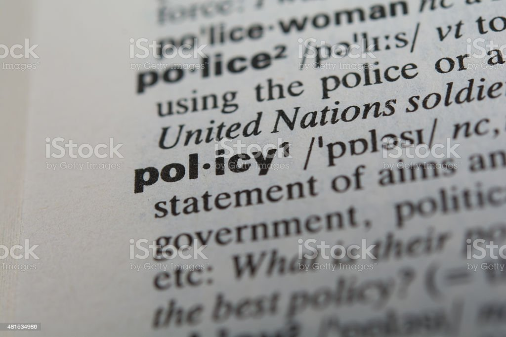 Definition of the word policy stock photo