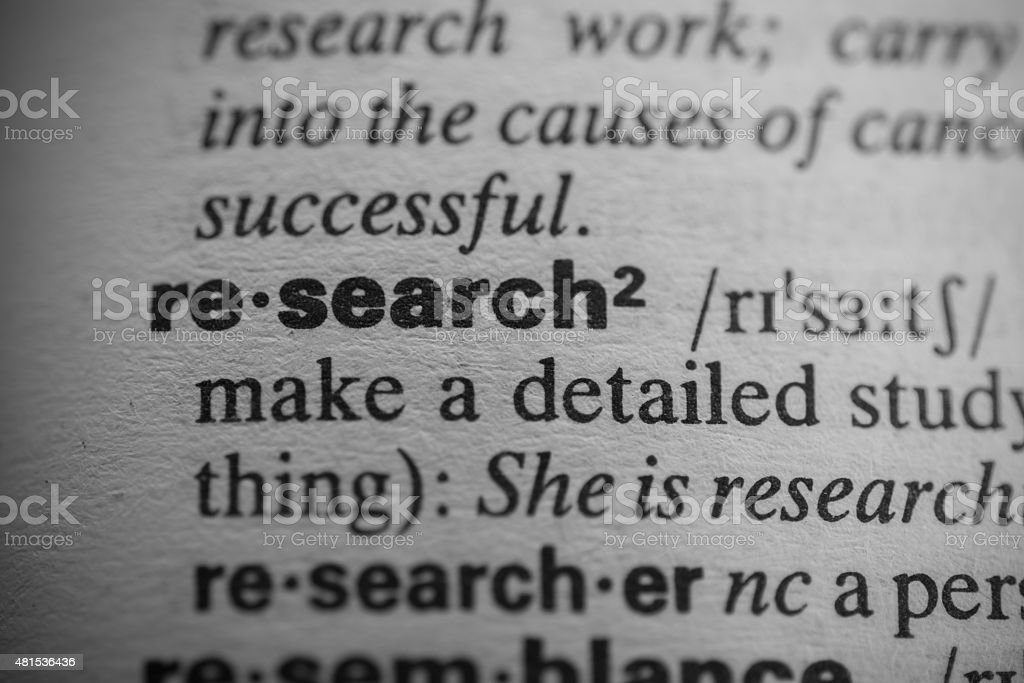 Definition of the word research stock photo