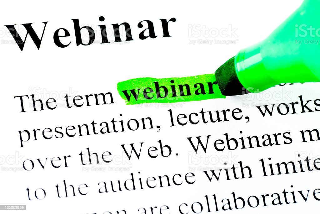 Definition of webinar in green royalty-free stock photo