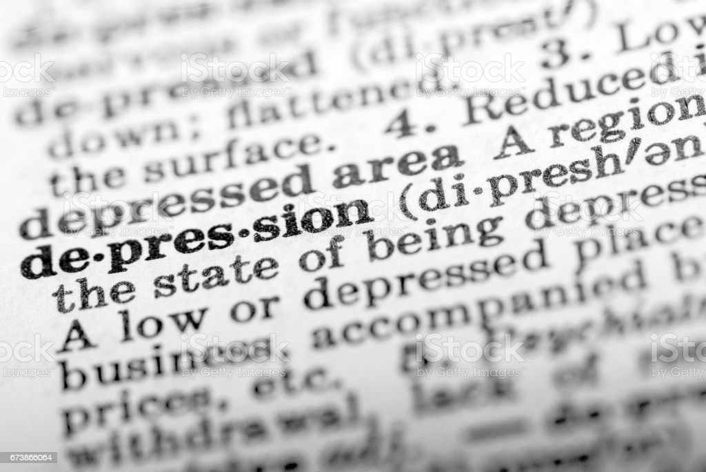 Definition Of Word Depression In Dictionary Royalty Free Stock Photo