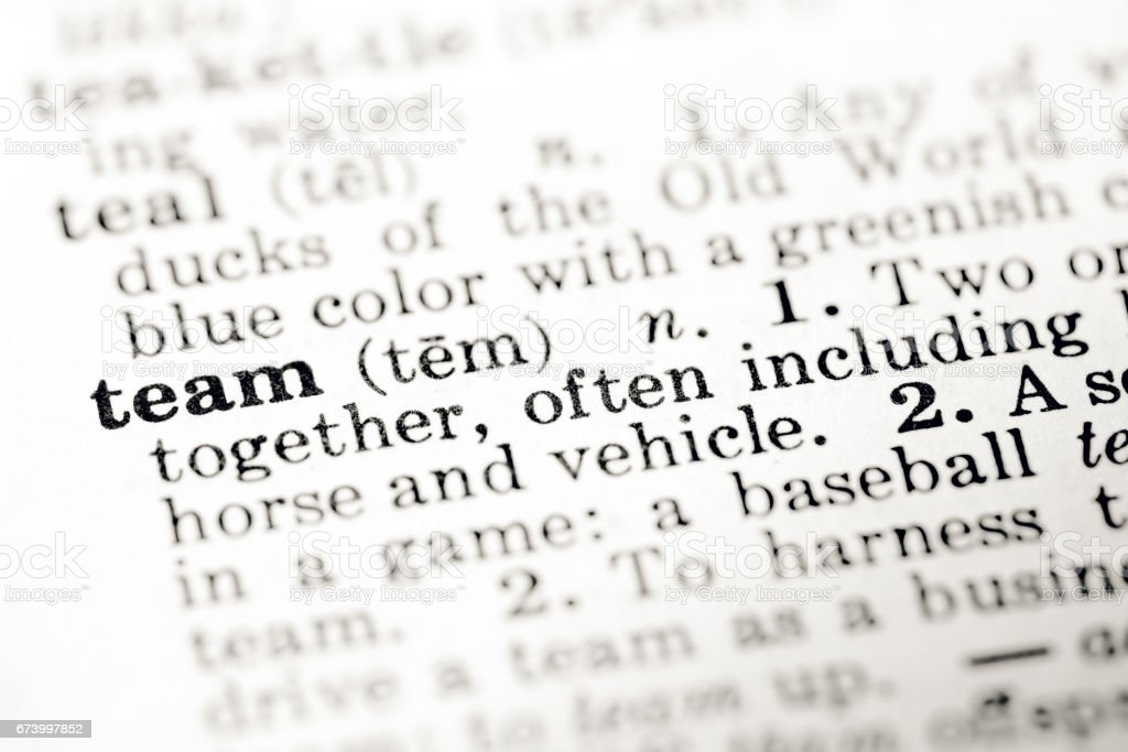Definition of word team in dictionary royalty-free stock photo