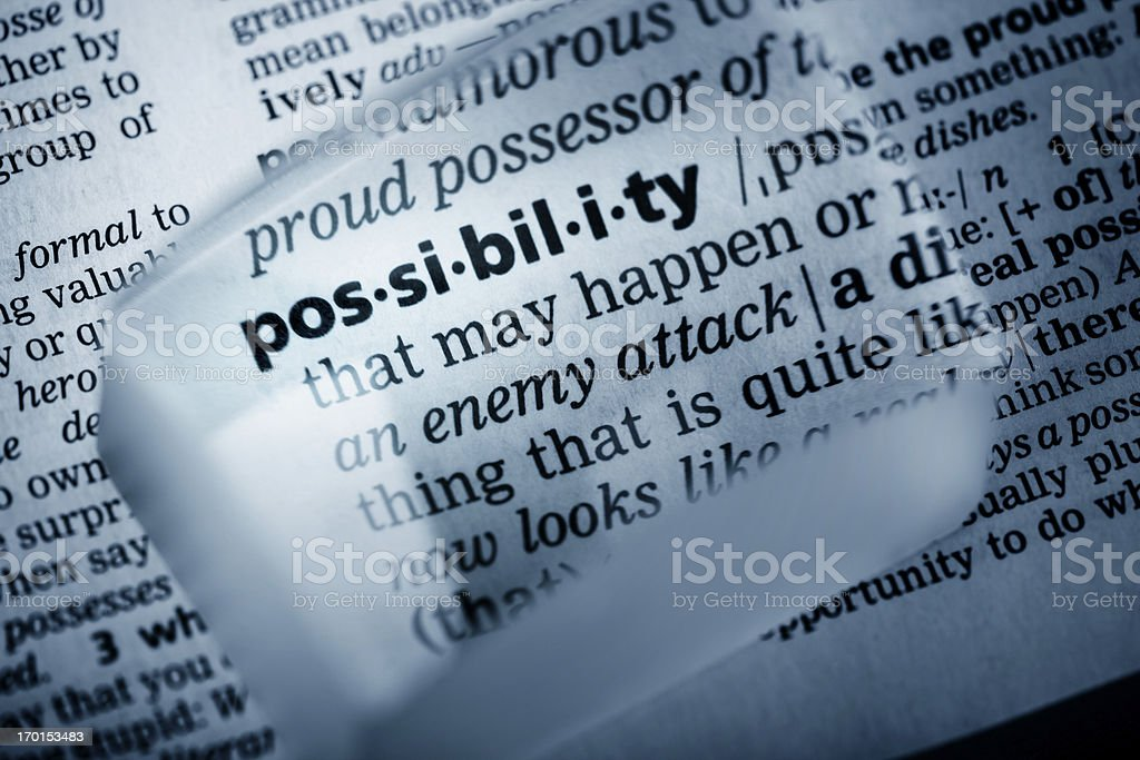 Definition 'possibility' royalty-free stock photo