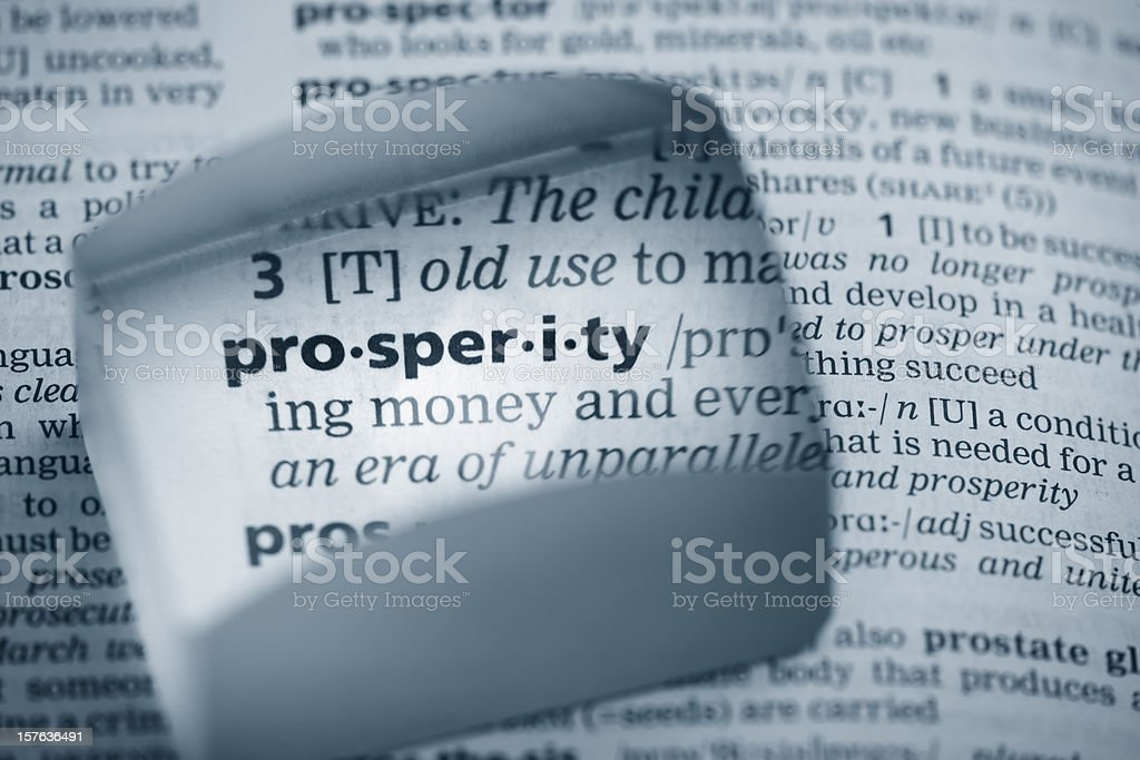 Definition 'prosperity' royalty-free stock photo