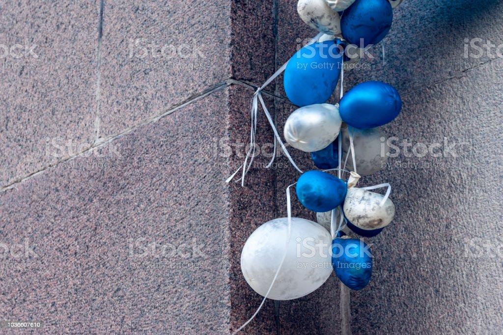 Deflated balloons stock photo