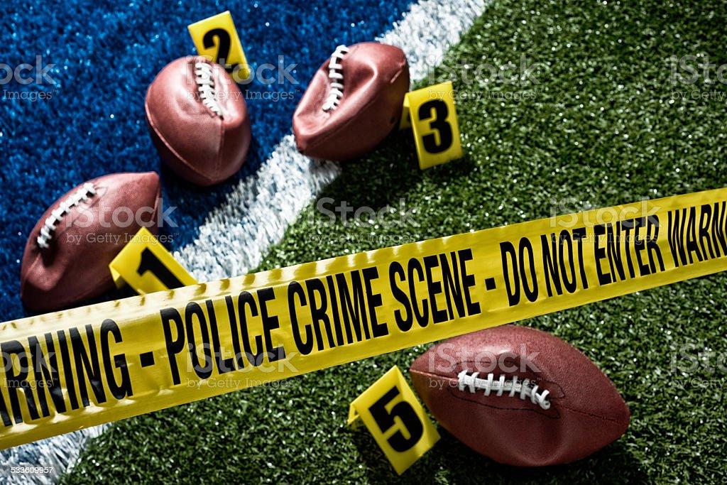Deflate-Gate. Crime Scene of NFL footballs deflated on the field stock photo
