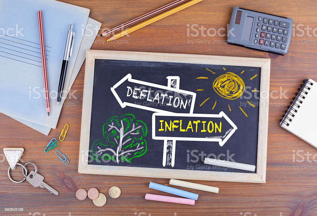 Deflation - Inflation signpost drawn on a blackboard stock photo