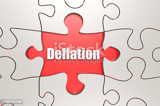 Deflation word on jigsaw puzzle, 3D rendering