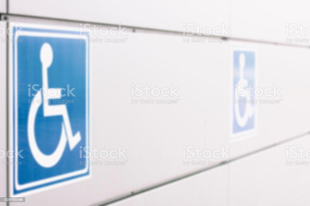 Defocsed Behindertenzeichen, Rollstuhl, Parken – Foto
