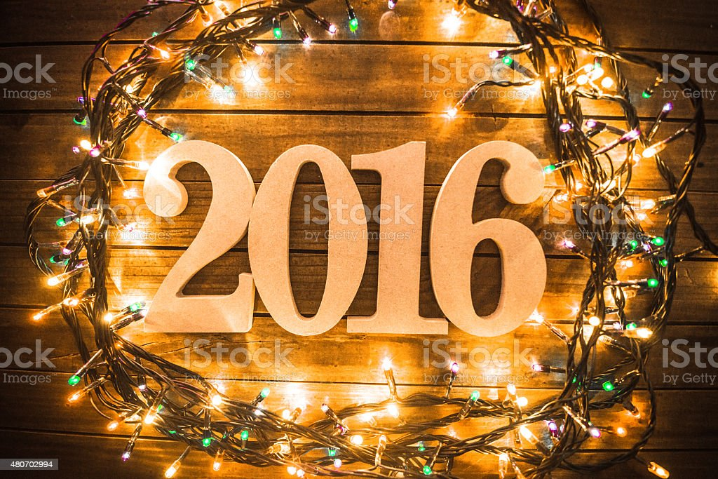 defocus 2016 New year text on plank wood stock photo