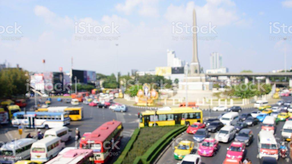 defocus blurred Victory monument and traffic jam in Bangkok stock photo