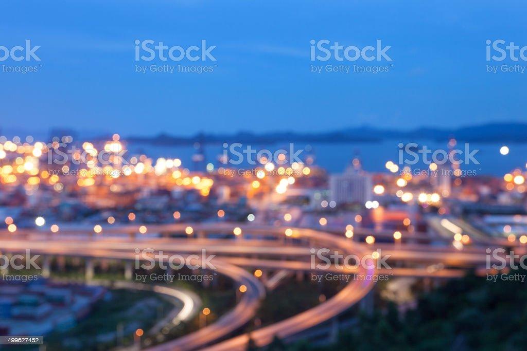 Defocus Habour Night stock photo