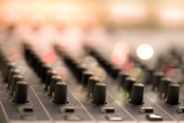 defocus of digital audio mixer knops shallow dept of field for background - dept stock pictures, royalty-free photos & images