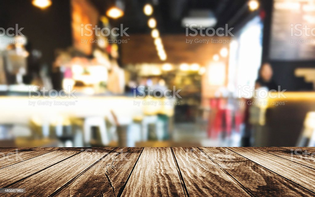 Defocus table inside a restaurant stock photo