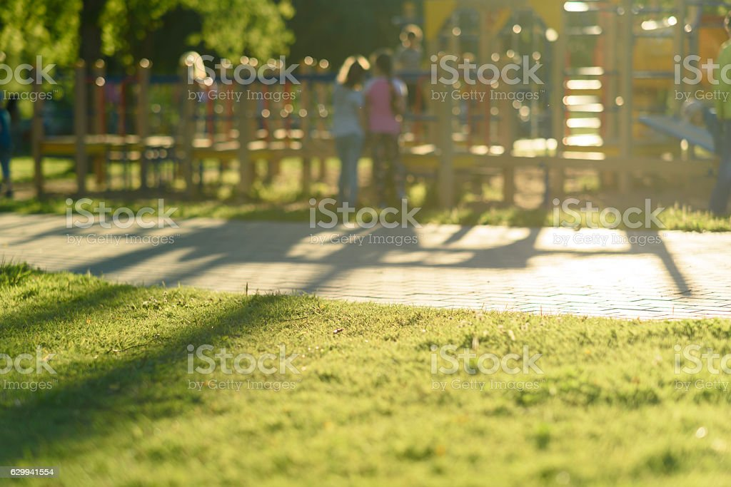 Defocused and blurred image for background children's playground  public park stock photo