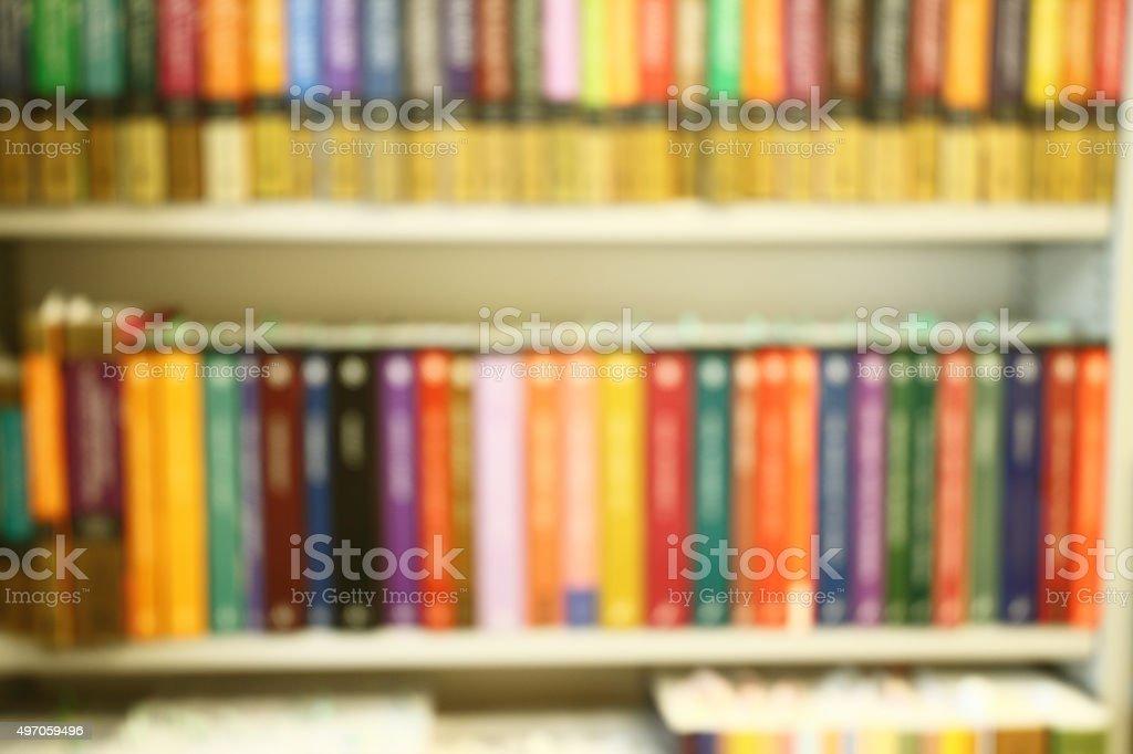 Defocused Background Of Bookshelf Royalty Free Stock Photo