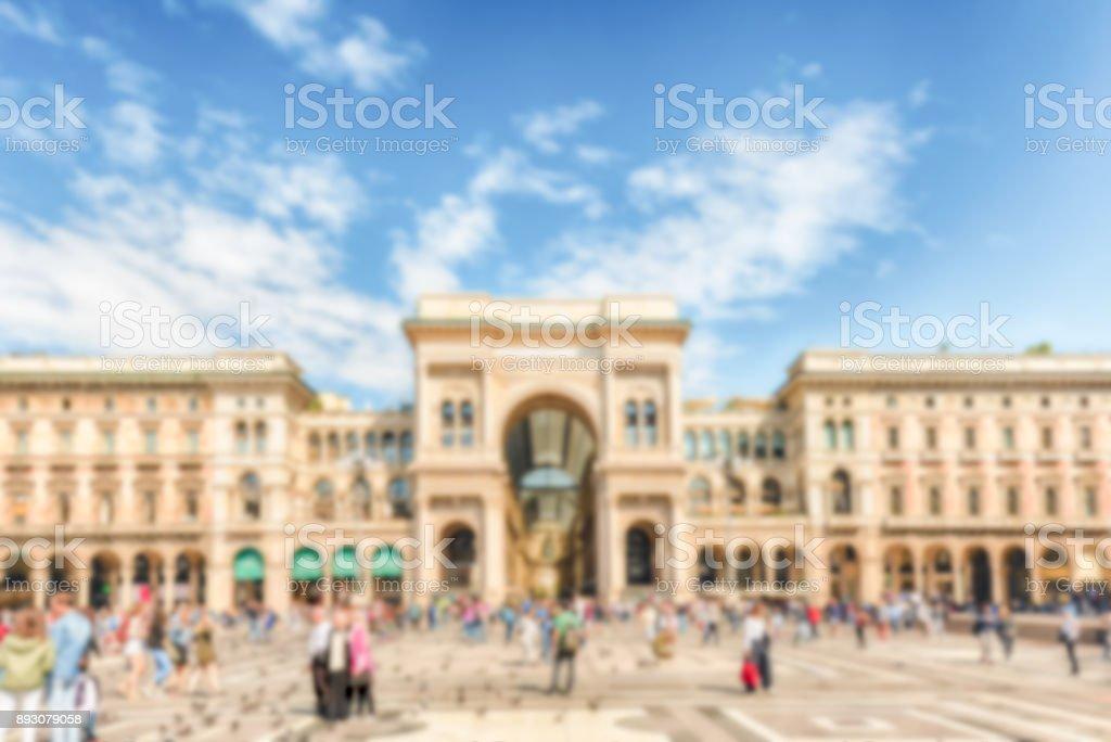 Defocused background of Galleria Vittorio Emanuele II in Milan, Italy stock photo