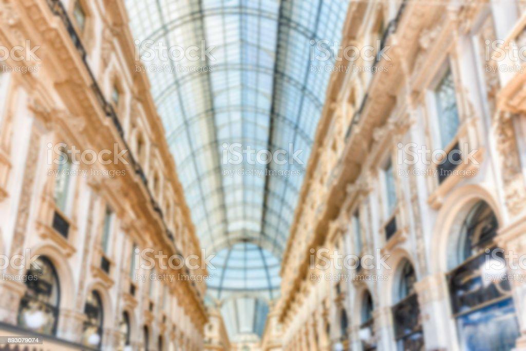 Defocused background of Galleria Vittorio Emanuele II, Milan, Italy stock photo