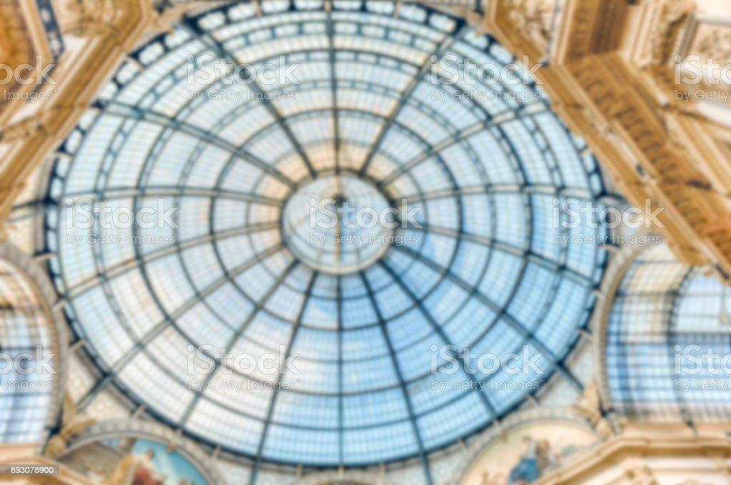 Defocused background of glass dome inside Galleria Vittorio Emanuele, Milan stock photo