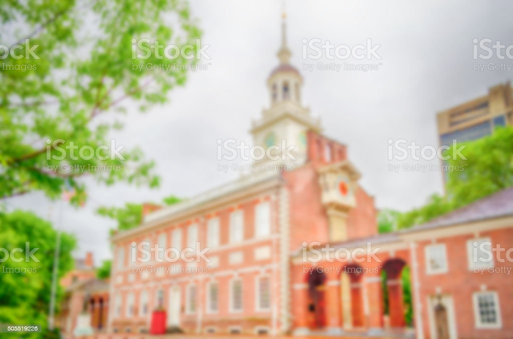 Defocused background of Independence Hall in Philadelphia, USA stock photo