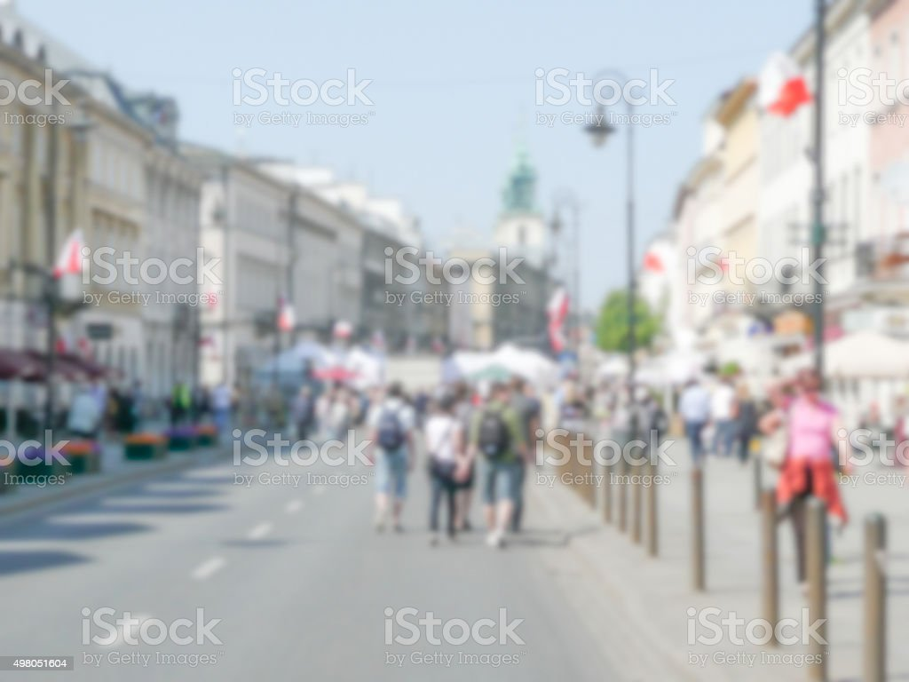 Defocused background of Nowy Swiat street in Warsaw, Poland stock photo