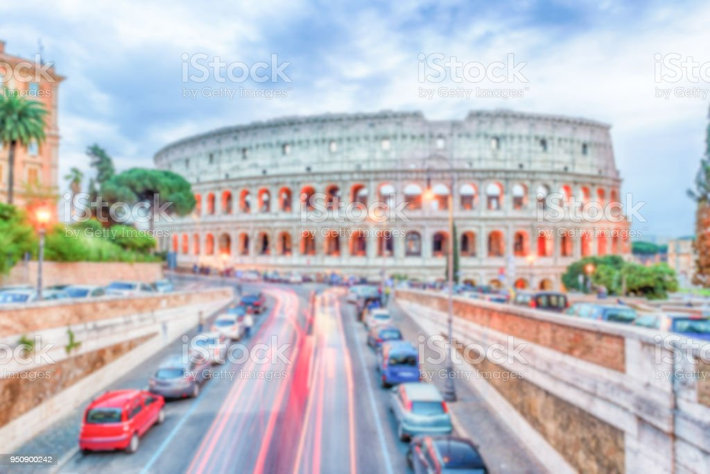 Defocused background of the Flavian Amphitheatre, aka Colosseum in Rome stock photo