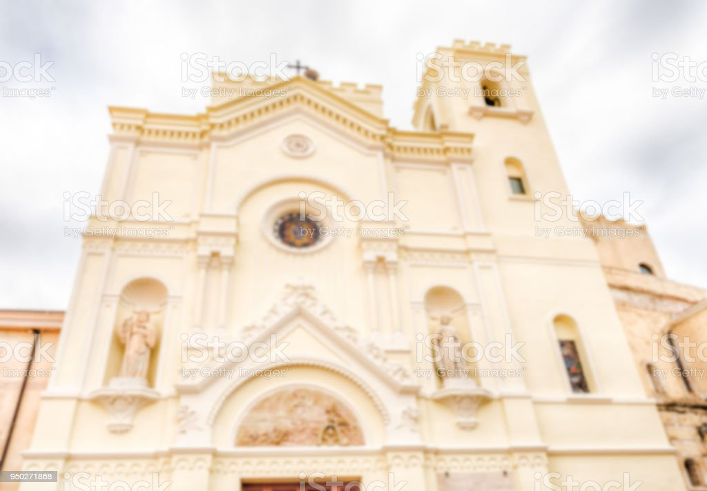Defocused background with facade of St. Francesco Church, Italy stock photo