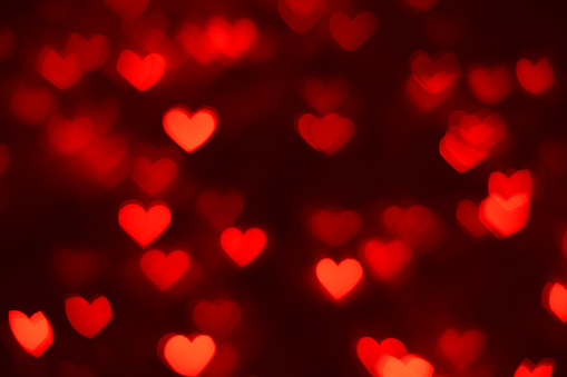 Defocused background with heart shaped bokeh