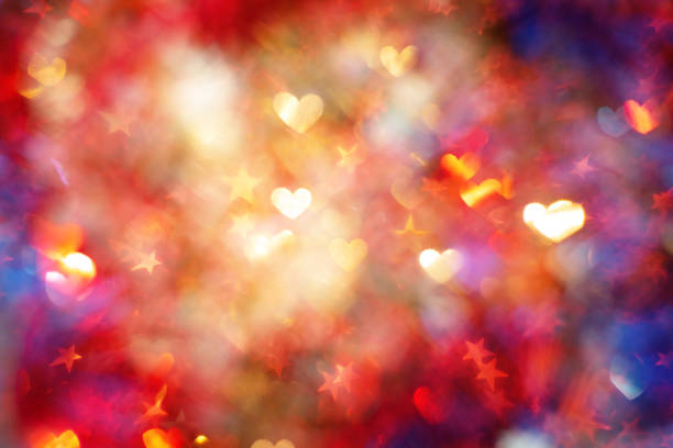 Defocused background with heart shapes stock photo