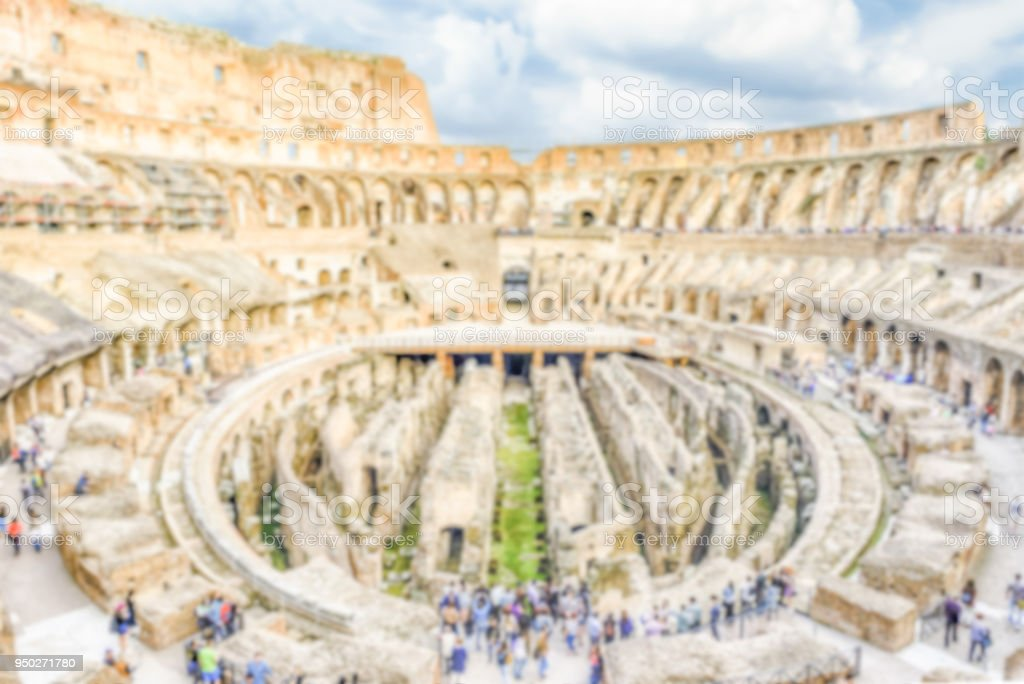 Defocused background with Interior of Flavian Amphitheatre, aka Colosseum, Rome stock photo