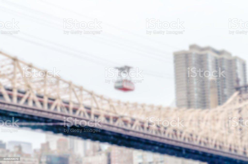 Defocused background with Roosevelt Island Tramway, New York stock photo